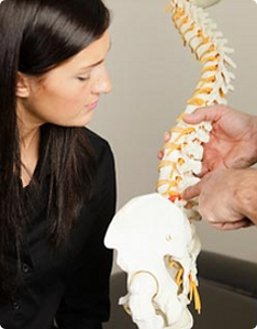 woman learning back bone